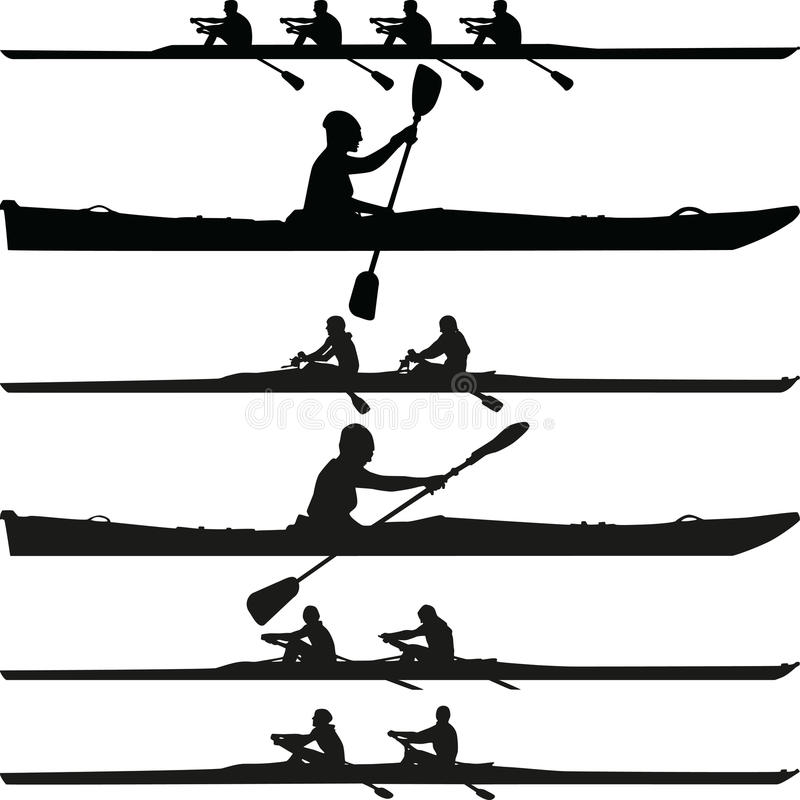 Kajakkontur vektor illustrationer