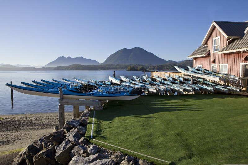 Kajaks aan huur in Tofino, BC stock foto's