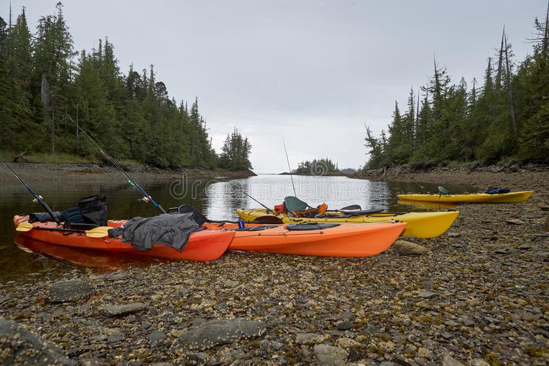 Kajaks mit Angeln auf Ufer stockbild