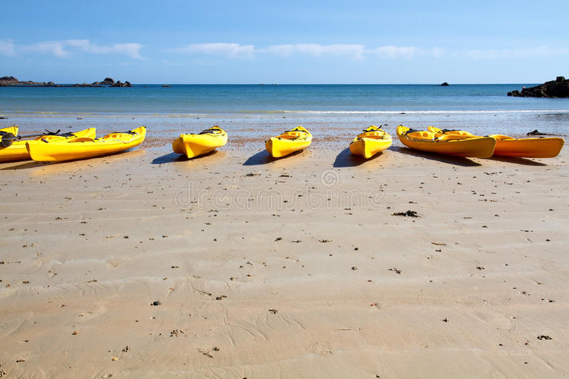 Kajaks At St. Brelade S Bay, Jersey, UK Royalty Free Stock Photos