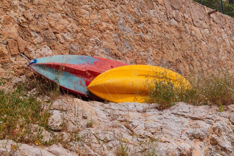Kajaks voor huur in Palma de Mallorca stock fotografie