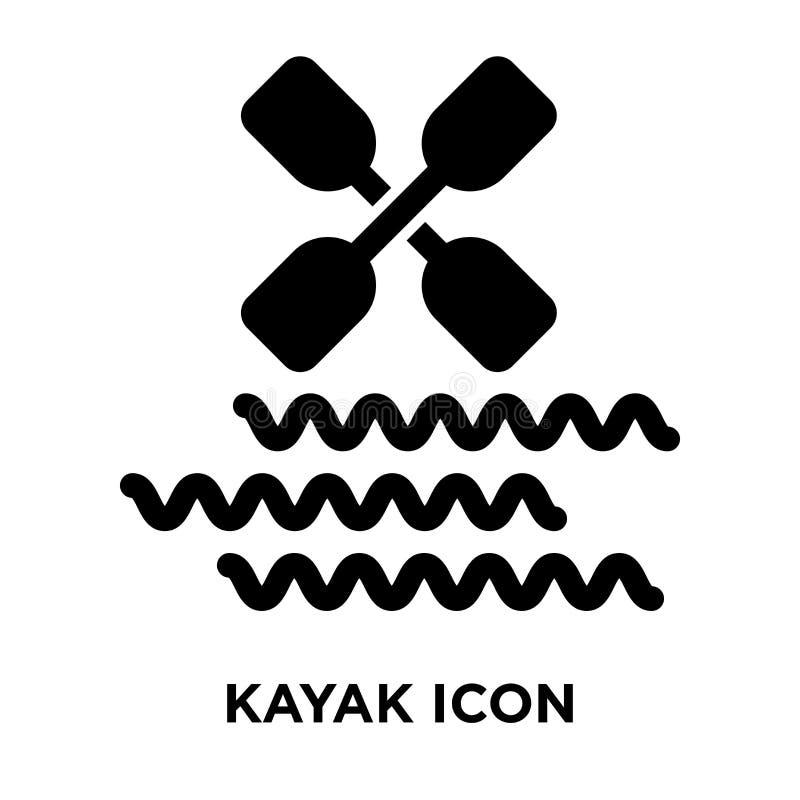 Kajaksymbolsvektor som isoleras på vit bakgrund, logobegrepp av royaltyfri illustrationer