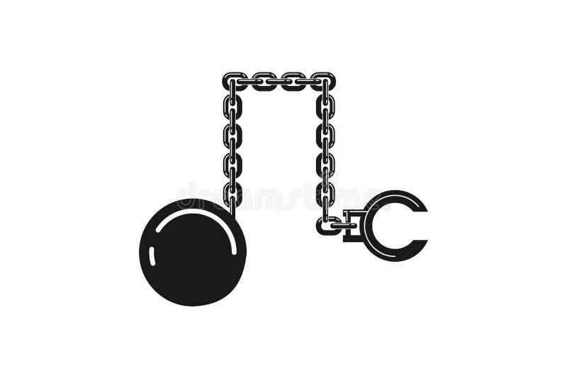 kajdanek i żelazo piłek logo Projektuje inspirację, Wektorowa ilustracja ilustracji