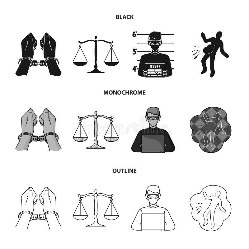 Kajdanki, ważą sprawiedliwość, hacker, miejsce przestępstwa Przestępstwo ustalone inkasowe ikony w czarnym, monochromatyczny, kon royalty ilustracja