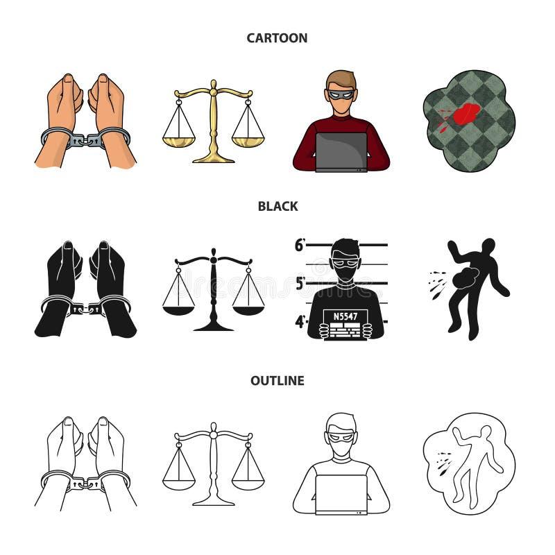 Kajdanki, ważą sprawiedliwość, hacker, miejsce przestępstwa Przestępstwo ustalone inkasowe ikony w kreskówce, czerń, konturu styl royalty ilustracja