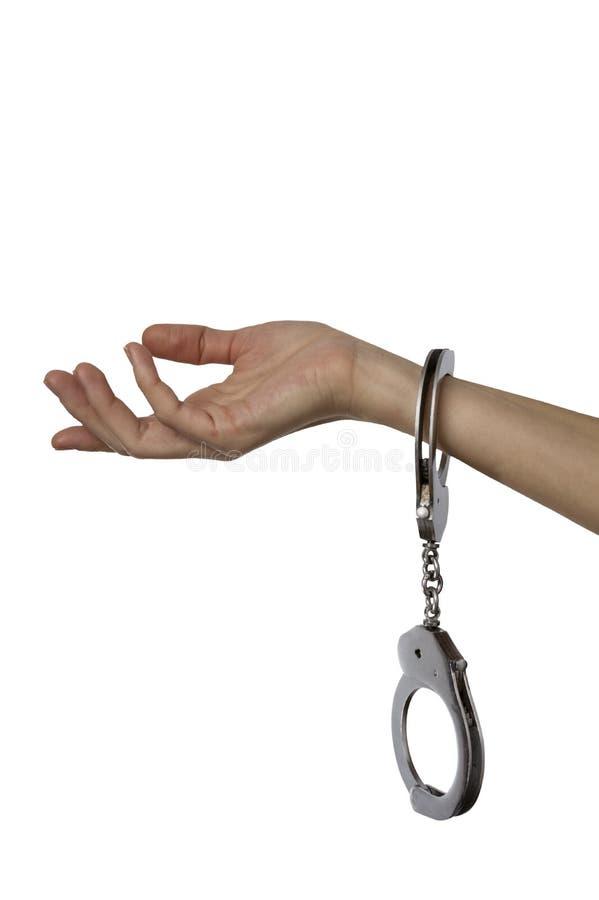 Kajdanowa kobiety ręka odizolowywająca nad bielem obraz stock