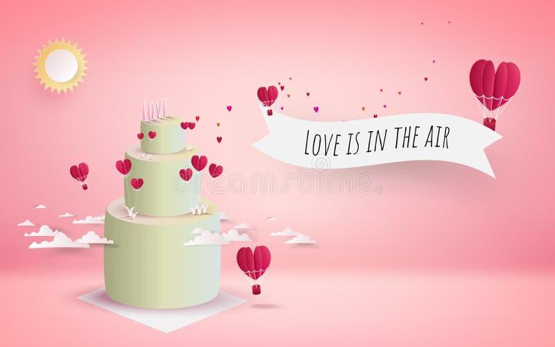 Kaka för dag för valentin` s med blommor och att flyga för hjärta röda hjärtor stock illustrationer