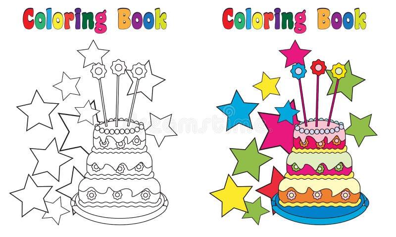 Kaka för födelsedag för färgläggningbok vektor illustrationer