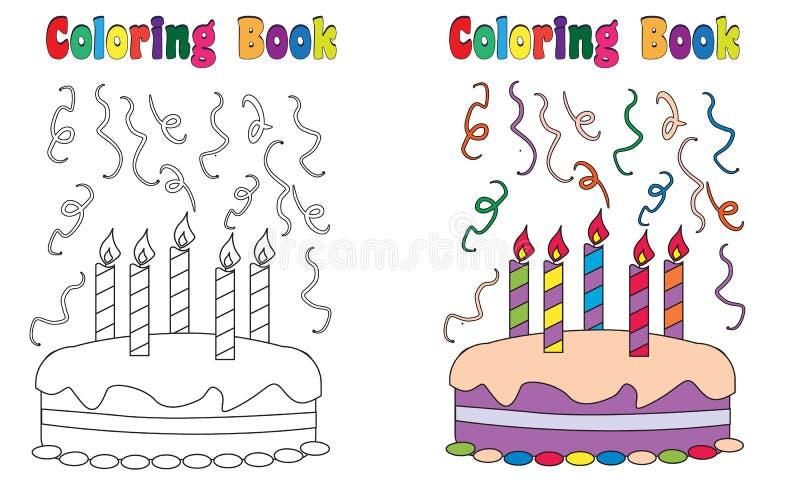 Kaka för födelsedag för färgläggningbok stock illustrationer