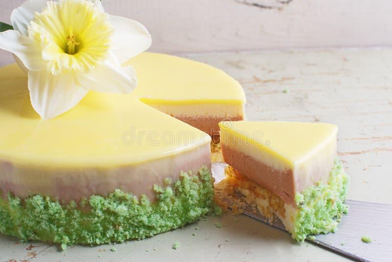 Kaka för passionfrukt, mousseefterrätt med tropisk anstrykning royaltyfri foto