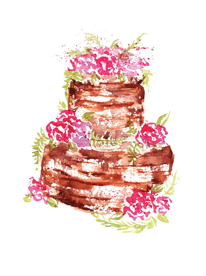 Kaka för vattenfärgbröllopchoklad med rosa färgblommor och sidor på en vit bakgrund också vektor för coreldrawillustration royaltyfri illustrationer