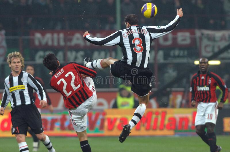 Kaka and Giorgio Chiellini in action during the match. Milan  Italy, 01 December 2007, `SAN SIRO` Stadium, Serious Football Championship A 2007/2008,  AC royalty free stock photo