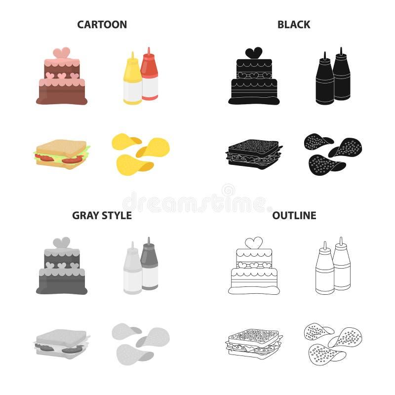 Kaka, ketchup och senap, snabbmatsmörgås, potatischiper Svärtar fastställda samlingssymboler för snabbmat i tecknad film monokrom stock illustrationer