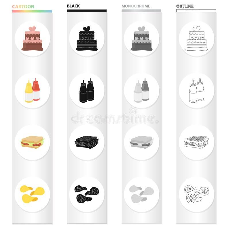 Kaka, ketchup och senap, snabbmatsmörgås, potatischiper Svärtar fastställda samlingssymboler för snabbmat i tecknad film monokrom vektor illustrationer