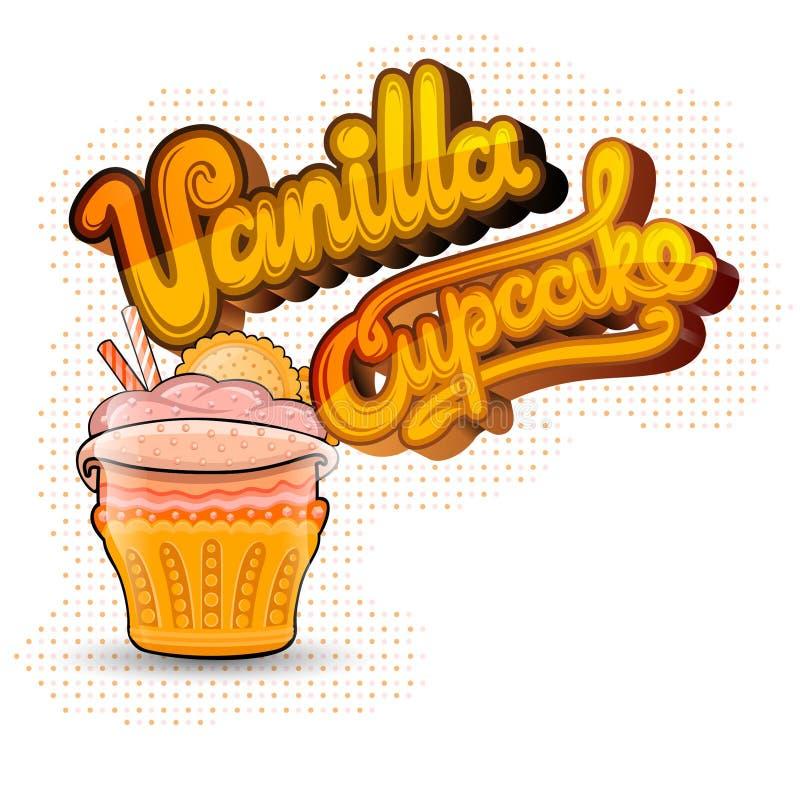 Kaka med bokstävervaniljmuffin på vit stock illustrationer