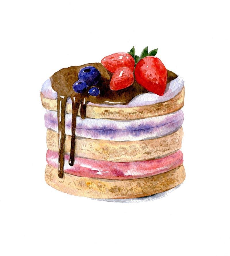 Kaka med lager, luddkräm som dekoreras med choklad och jordgubbar Vattenfärgillustration som isoleras på vit bakgrund vektor illustrationer