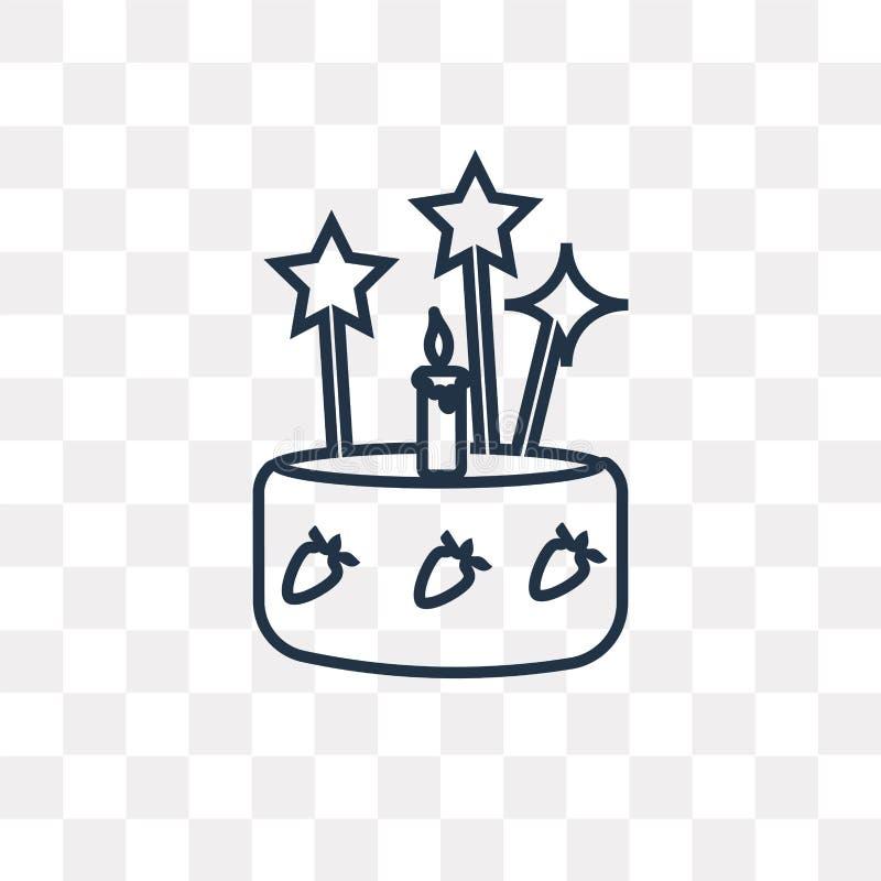 Kaka med tre stearinljus vektorsymbol som isoleras på genomskinlig baksida royaltyfri illustrationer