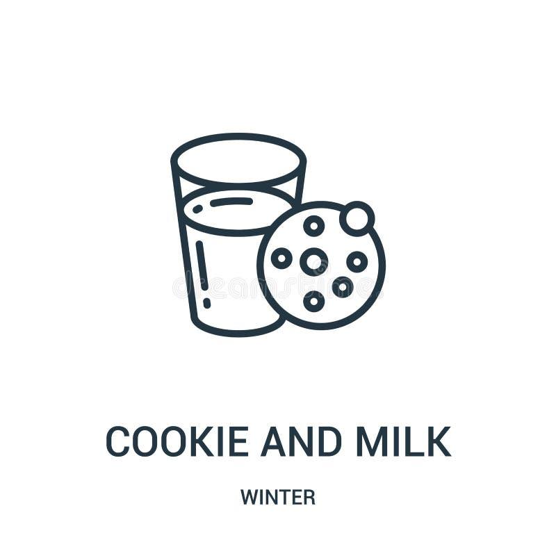 kaka och att mjölka symbolsvektorn från vintersamling Tunn linje kaka och att mjölka illustrationen för översiktssymbolsvektor r stock illustrationer