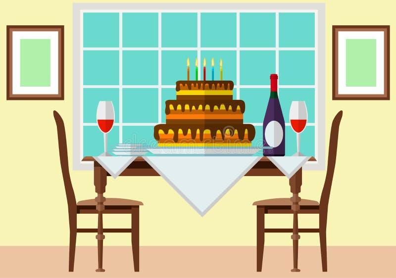 Kaka och vin på den festliga tabellen stock illustrationer
