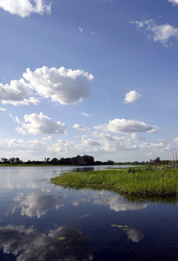 Kakadu Reflection. View of Kakadu wetlands in the Northern Territory of Australia, home of Saltwater Crocodiles stock images