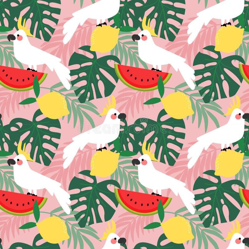 Kakadua i sömlös modell för tropisk skog vektor illustrationer