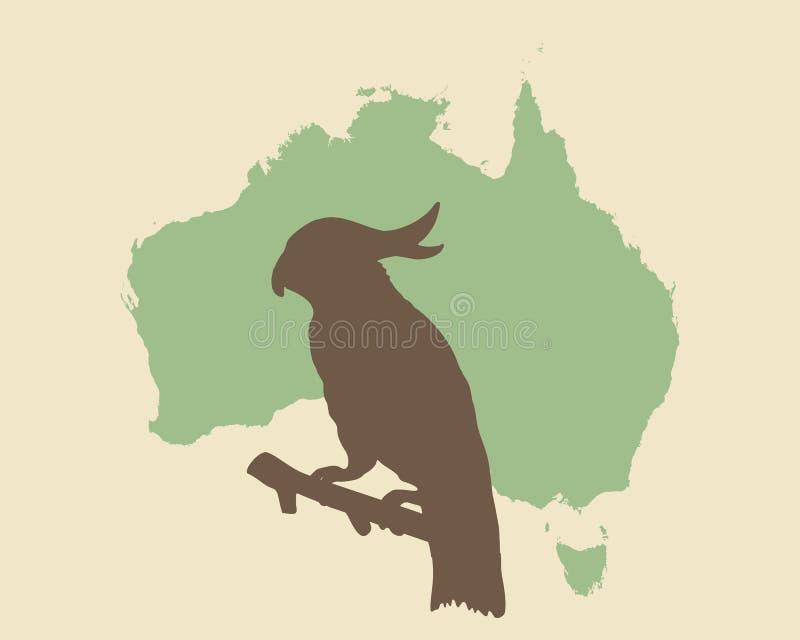 Kakadua- och Australien tappningstil stock illustrationer