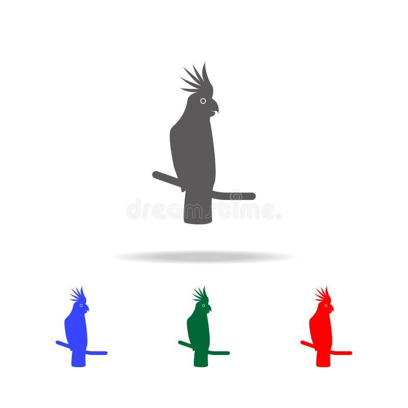 Kakaduasymbol Beståndsdelar av mång- kulöra symboler för australiska djur Högvärdig kvalitets- symbol för grafisk design Enkel sy stock illustrationer