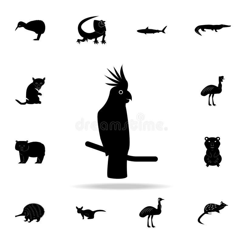 Kakaduasymbol Detaljerad uppsättning av australiska djura kontursymboler Högvärdig grafisk design En av samlingssymbolerna för stock illustrationer