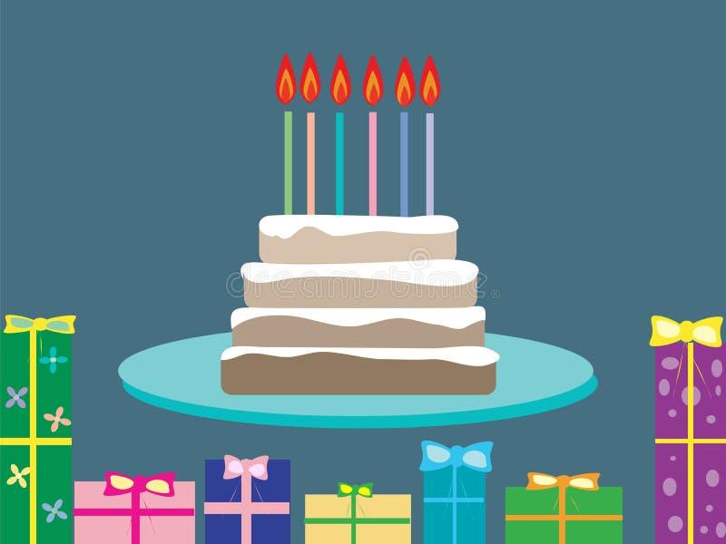 Kakafödelsedaggåvor semestrar stearinljus 6 gamla år vektor illustrationer