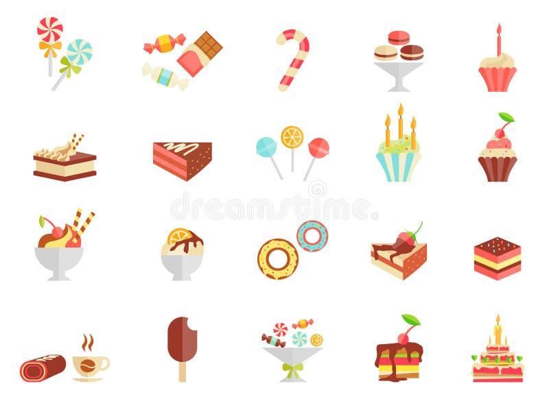 Kakagodis- och glasssymboler vektor illustrationer
