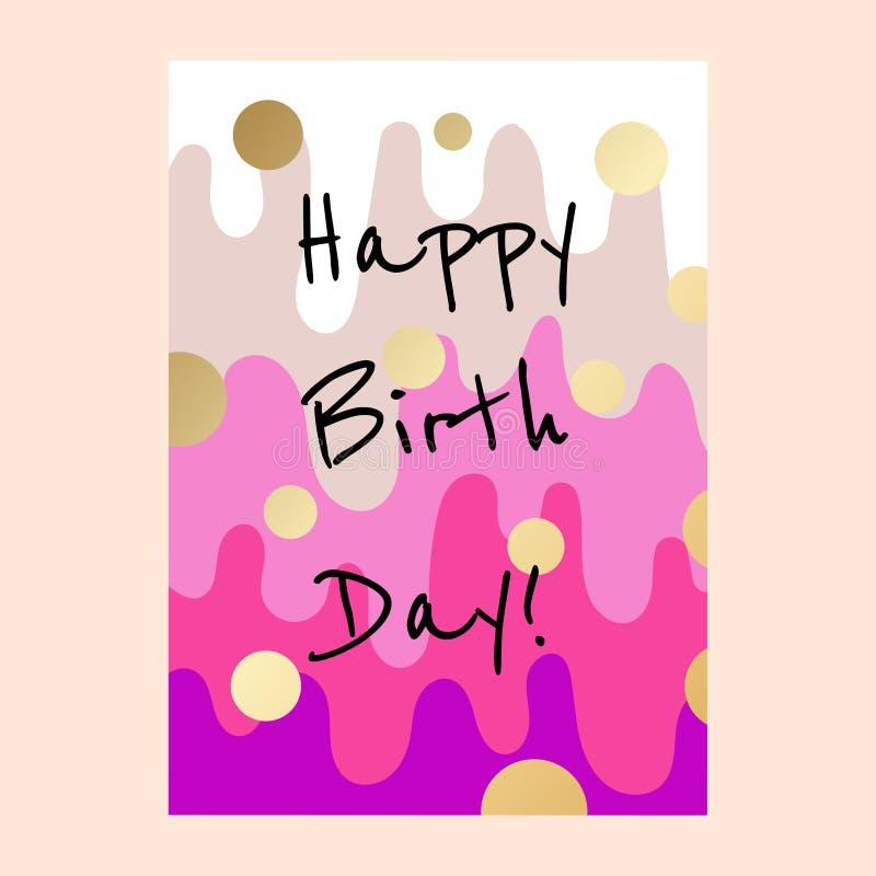 Kakan för den lyckliga födelsedagen varvar kortdesign stock illustrationer