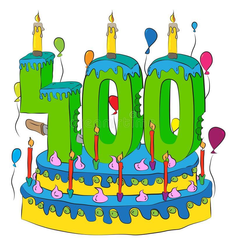 Kakan för födelsedag 400 med nummer fyrahundra undersöker och att fira fyra hundradelår av liv, färgrika ballonger och choklad Co vektor illustrationer