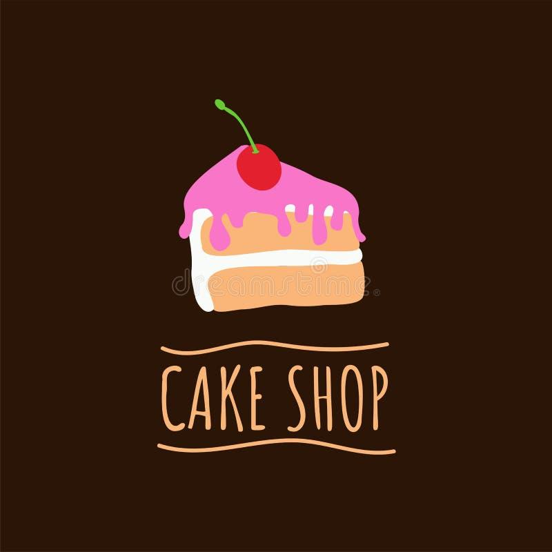 Kakan shoppar logo Baka och bagerihusemblem Efterrätt- och bakelsekaféetikett, vektorillustration stock illustrationer