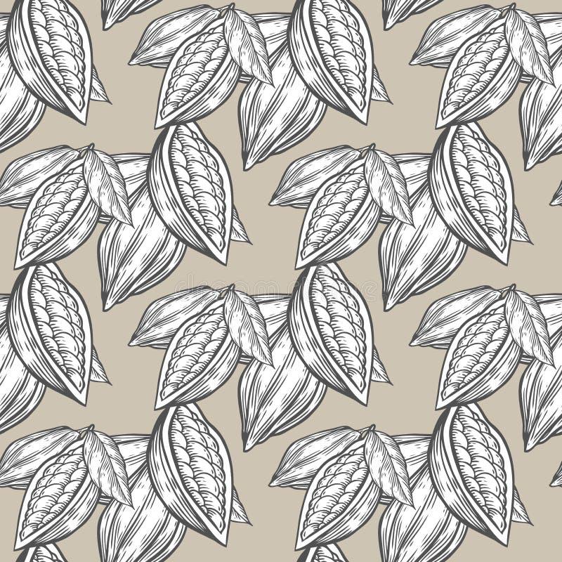 Kakao, cacao fasoli nakreślenia wektoru ręka rysujący bezszwowy wzór ilustracja wektor
