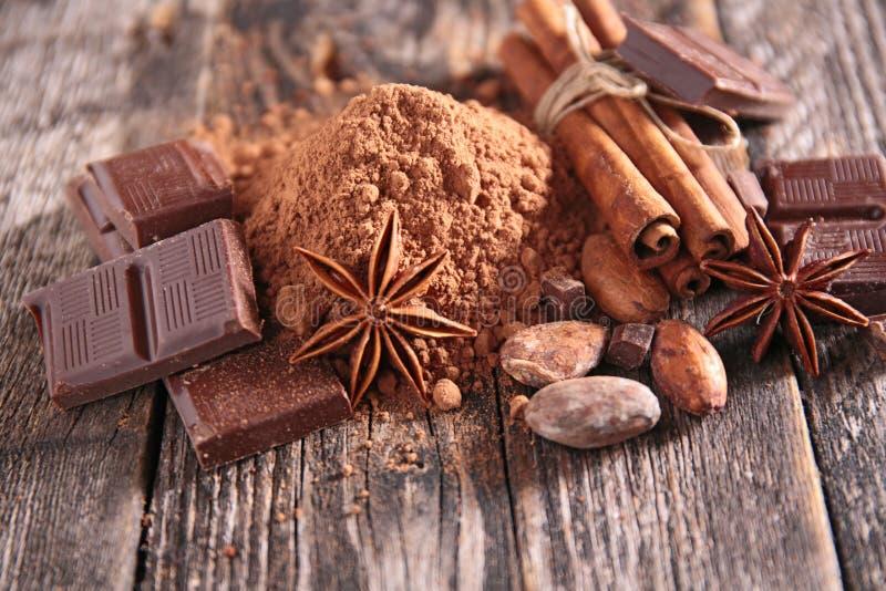Kakao, choklad och kryddor royaltyfri bild