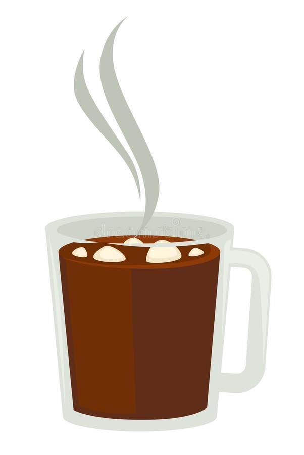 Kakao eller varm choklad med marshmallowen i isolerat objekt för exponeringsglas kopp vektor illustrationer