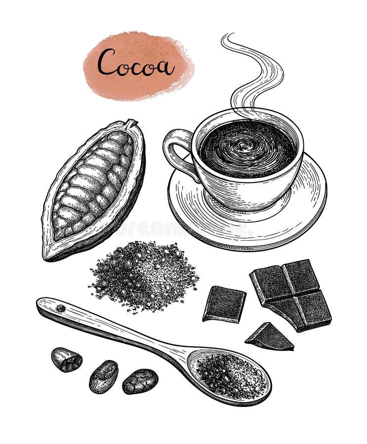 Kakao i czekolady set ilustracja wektor