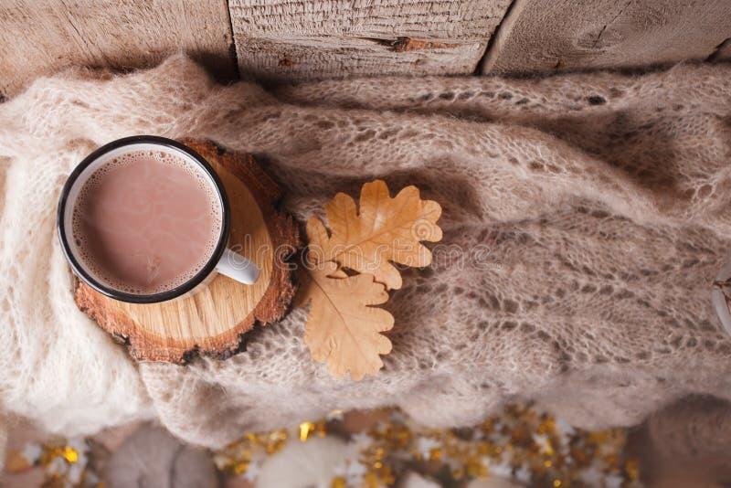 Kakao med hem- bakgrund för hemtrevlig vinter, kopp av varm kakao, varm stucken tröja på tappningträbakgrund, tappningsignal arkivfoto
