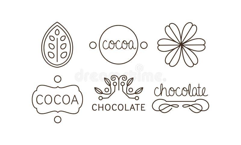 Kakao- och chokladlinje symboler uppsättning, etiketter och emblemvektorillustration royaltyfri illustrationer