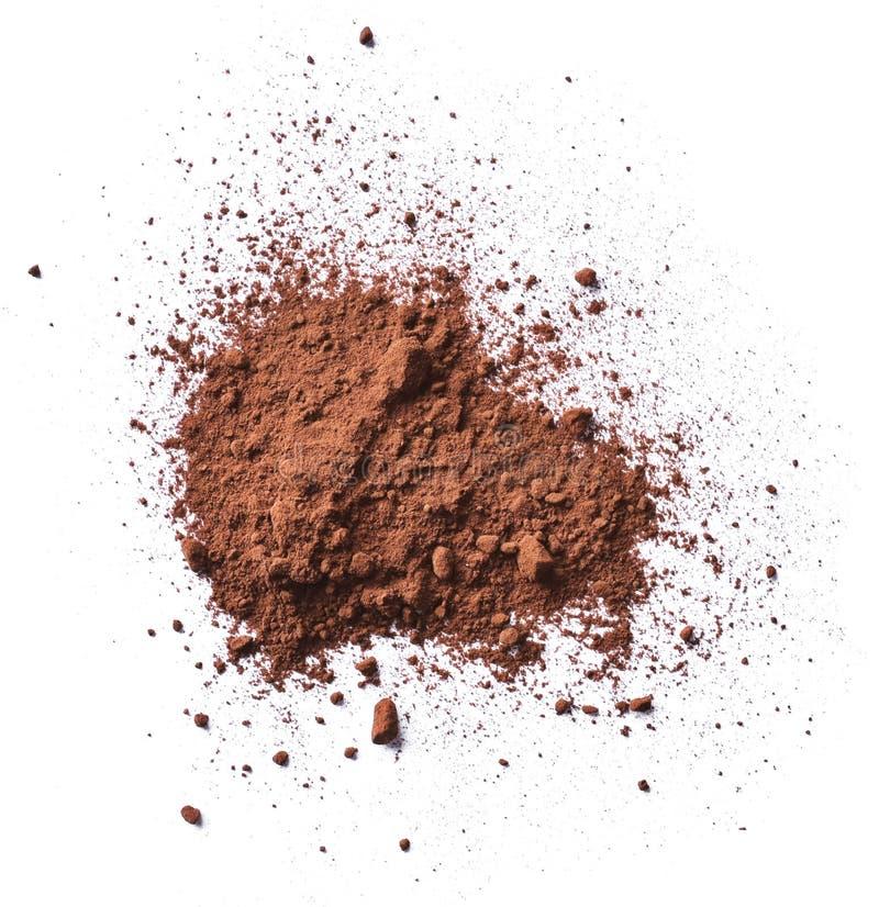 Kakao- oder Kaffeepulver, lokalisiert auf Weiß lizenzfreie stockbilder