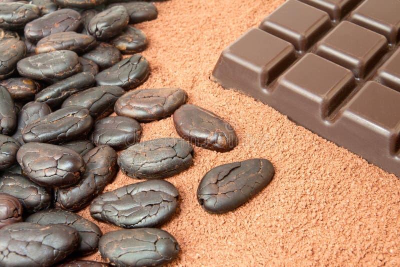 Kakao und Schokolade lizenzfreies stockfoto