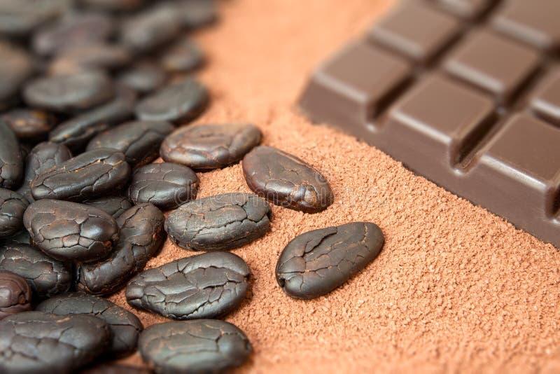 Kakao und Schokolade lizenzfreie stockfotografie