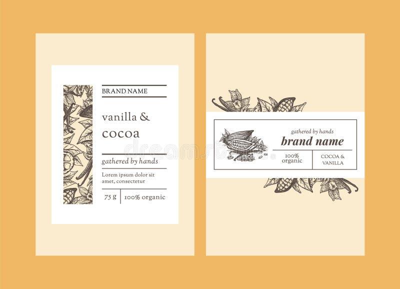 Kakao- und Vanilleverpackungsschablonen-Entwurfsdesign vektor abbildung