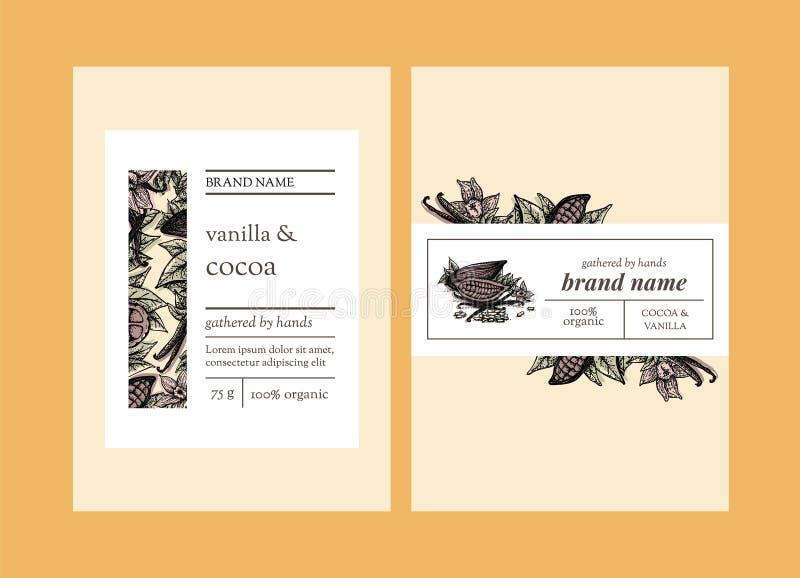 Kakao- und Vanilleverpackungsschablonendesign stock abbildung