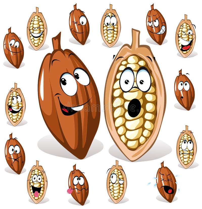 Kakaobönatecknad film stock illustrationer