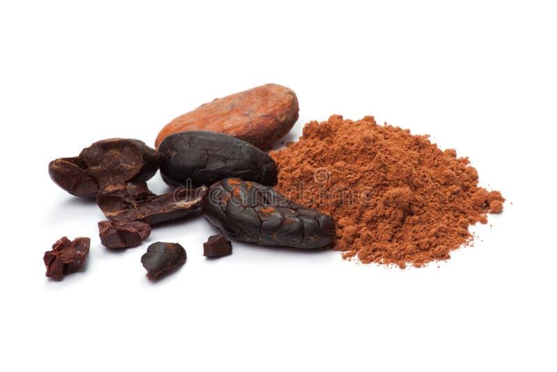 Kakaobönor och kakao pudrar arkivfoton