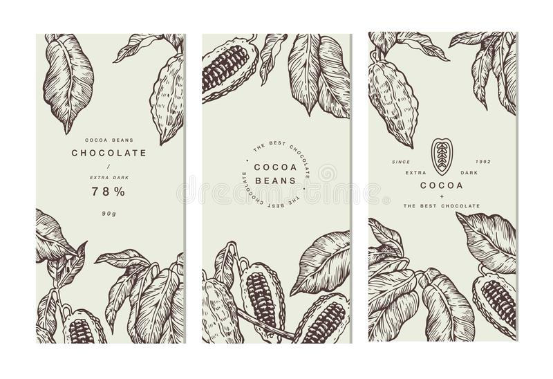 Kakaobohne-Baumfahnensammlung Karten mit buntem ledernem Aufkleber Gravierte Artillustration SchokoladenKakaobohnen Vektor vektor abbildung