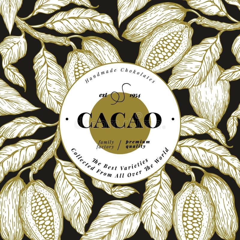 Kakaobohne-Baumfahnenschablone SchokoladenKakaobohnehintergrund Vektorhand gezeichnete Abbildung Abbildung der roten Lilie vektor abbildung