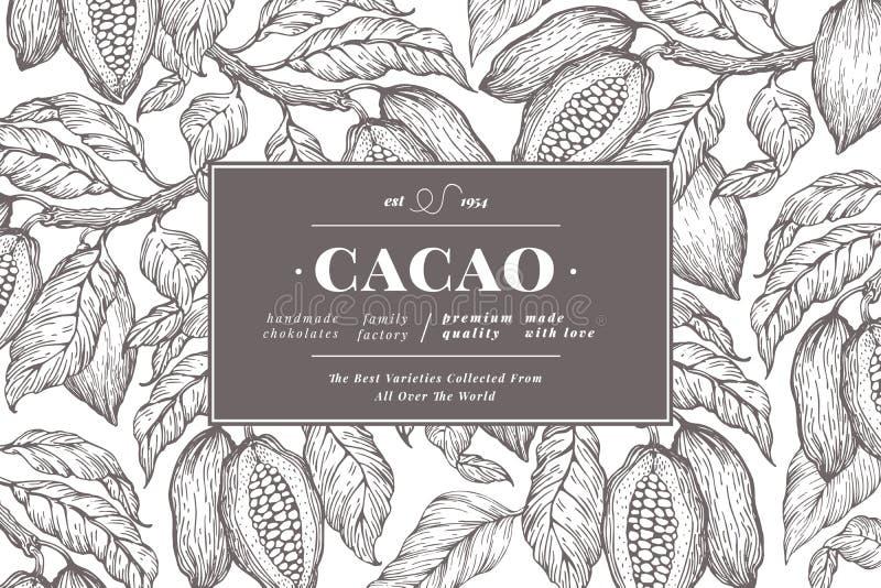 Kakaobohne-Baumfahnenschablone SchokoladenKakaobohnehintergrund Vektorhand gezeichnete Abbildung Abbildung der roten Lilie stockfotos