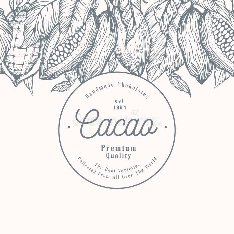 Kakaobohne-Baumfahnenschablone SchokoladenKakaobohnehintergrund Vektorhand gezeichnete Abbildung Abbildung der roten Lilie lizenzfreie abbildung